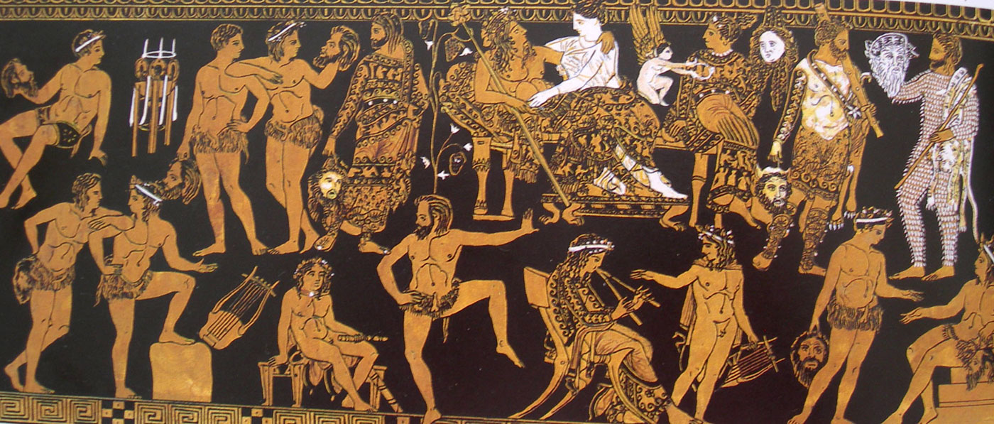 The Festival of Dionysus was a grand event with as large a spectacle in entertainment as possible. This vase shows a performance of the play Electra