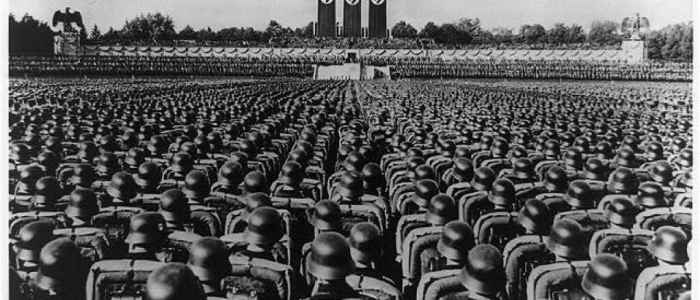 Massed ranks of the SS at the Nuremberg Rally, 1936.