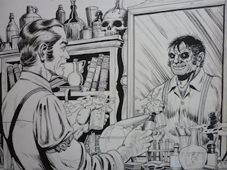 Artist: Lou Cameron Dr Jekyll looking at the mirror and seeing his inner personality, Mr Hyde