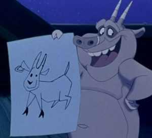 Hugo loves that goat.