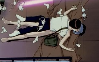 Scenes like Shinji falling onto a naked Rei and then getting showered with her underwear are, at first glance, unnecessary fanservice.