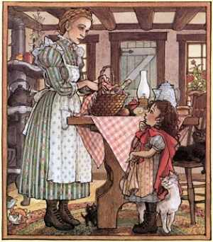 Little Red Riding Hood - a limited mother-daughter relationship. The mother is mostly absent while the child faces the challenges of life.
