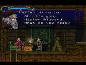 Alucard visits the Librarian in the Long Library.
