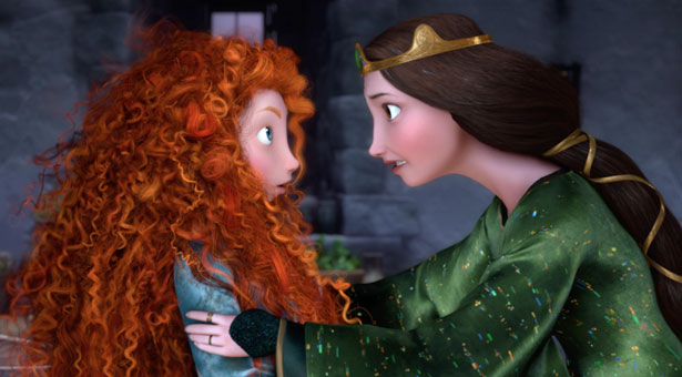 Merida and her mother are opposites physically as well as through their gender ideology.