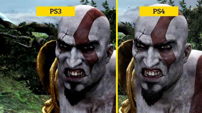 Kratos in God of War, remastered comparison of graphics between the PS3 and PS4.
