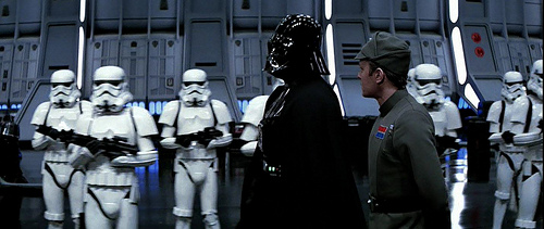 Darth Vader inspects his troops who are identical.