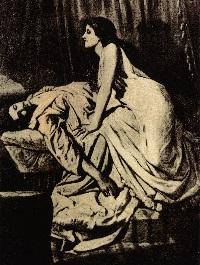 A vampire leering over her sleeping victim.