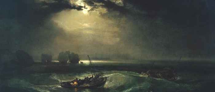 "Joseph Mallord William Turner's ""Fishermen at Sea"" combines the gloom of a dark night with eerie, captivating moonlight."
