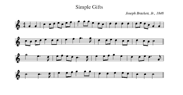 Simple Gifts Melody