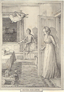 Peter finding Wendy's daughter, a scene from the epilogue of the novel