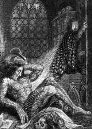 Theodore von Holst, the frontispiece to Frankenstein, 1831: Victor flees in terror at witnessing the monster he created.