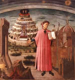 Dante between the mountain of purgatory and the city of Florence, Domenico di Michelino, 1465.