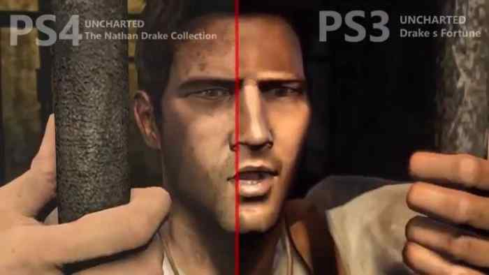 Nathan Drake from the Uncharted series, a comparison of graphics between the PS3 and PS4.