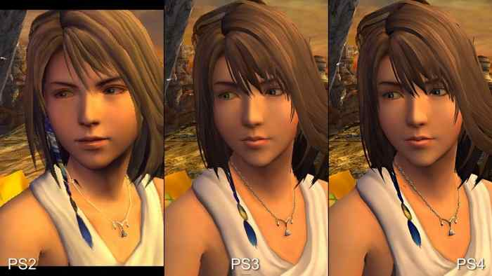 Yuna from Final Fantasy X, comparison of graphics between the generations.