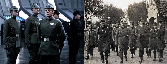The uniforms of the Imperial soldiers is very similar to that of the Nazi SS.