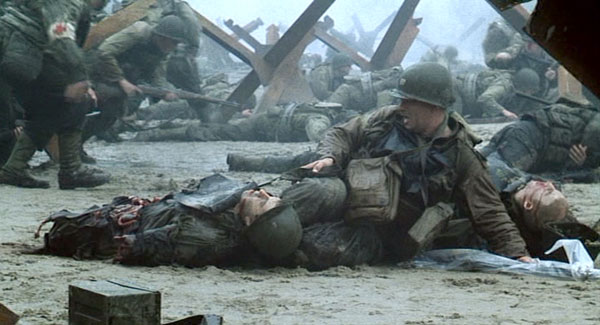 The Omaha Beach on D-Day scene