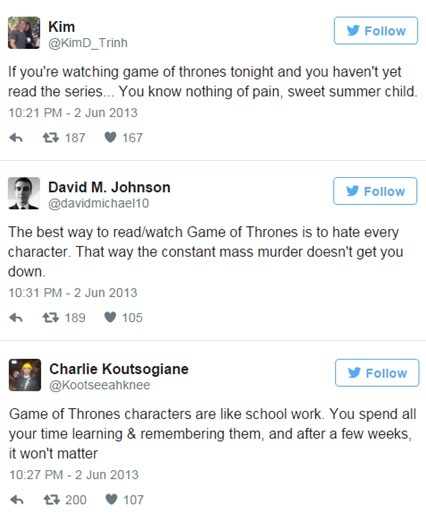 "These tweets from the ""Red Wedding"" episode show how shaken people were to the point where they have to communicate it in order to process it."