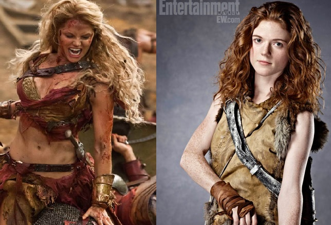 "Two different takes on what a ""barbarian"" woman looks like on Spartacus (left) and Game of Thrones (right). The woman on Spartacus is barely wearing anything and has a body that could be on the cover of Playboy, while Ygritte from Game of Thrones (who rarely shows this much skin on the show) looks more natural even in a glamour promo photo for Entertainment Weekly."