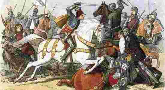 A depiction of The Battle of Bosworth Field. Richard III on the white horse.