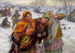 """""""Girlfriends"""" by Fedot Sychkov (1929): a visual example of the """"perfect"""" lives of the Russian peasants portrayed in Russian folk music under the Soviet regime."""