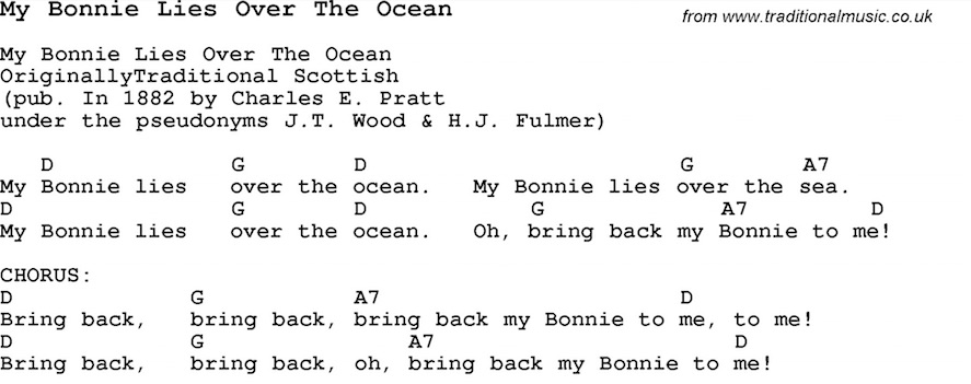 "Take a look at the chords accompanying this version of ""My Bonnie Lies Over the Ocean"". If you don't read music, the chords are the letters (G, D) over the text. The song's simplicity is plain; only three chords are necessary to accompany this entire song!"