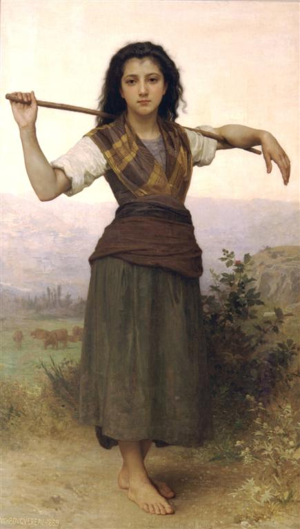 """""""The Shepherdess"""" by William Adolphe Bouguereau: pastoral life is a common subject of folk music."""