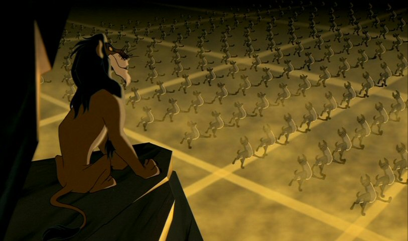 Disney's use of the goose step in the song Be Prepared likens Scar to Hitler.