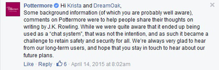 Pottermore Facebook Response 1