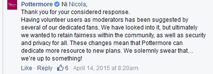 Pottermore Facebook Response 2