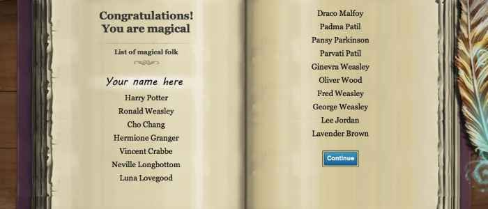 Magical Book on Pottermore