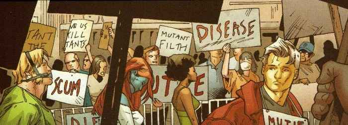 Protesters Surrounding Arrested Mutants by the Department of Corrections X-Men: Age of X, Issue 1, 2011