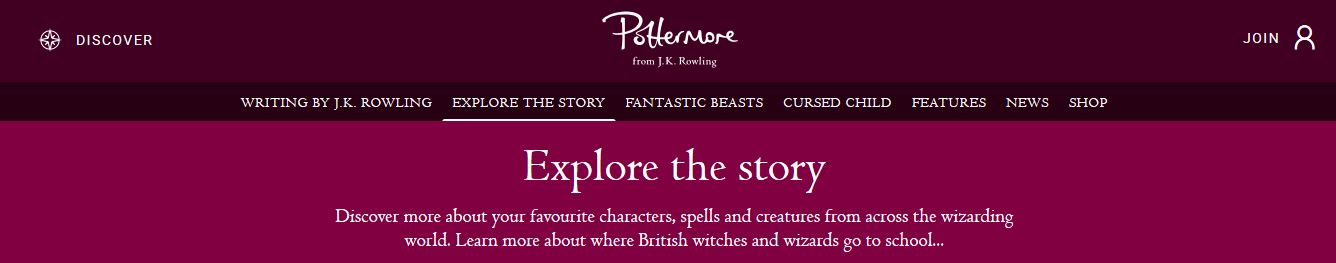 Pottermore page