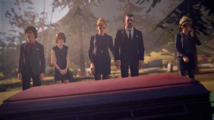 Warren, Max, Joyce, David, and Kate attend Chloe's funeral (sacrifice Chloe ending).