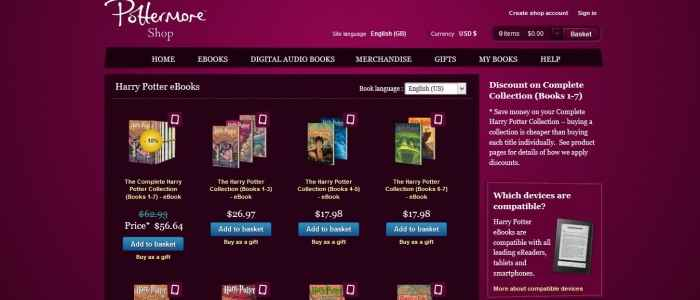 Pottermore Ebooks Shop