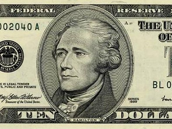 Hamilton is depicted on the ten dollar bill.
