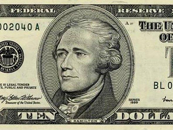 Hamilton is depicted on the ten dollar bill.