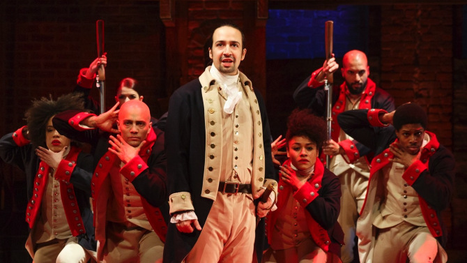 Lin-Manuel Miranda stars as Alexander Hamilton shown here among his multicultural cast in a portrayal of the Battle of Yorktown