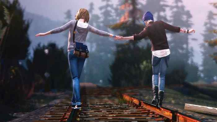 Max and Chloe take a walk along the train track.s