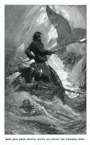 An illustration that depicts the final chase between Ahab and Moby Dick. By I. W. Taber (1902).