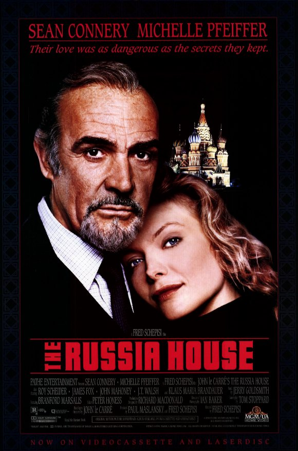 A movie poster of the 1990 movie (The Russia House), starring Sean Connery and Michelle Pfeiffer