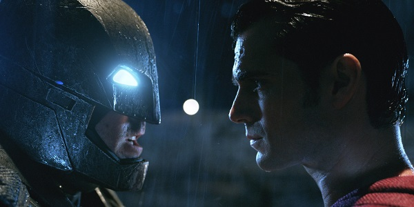 The Son of Krypton and the Bat of Gotham facing off.