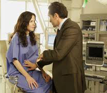 Mary-Louise Parker as Nancy Botwin and Demian Bichir as Esteban Reyes gynecological. Weeds