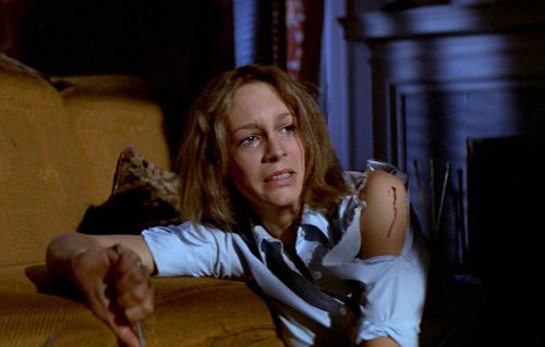 Halloween's Laurie Strode, frightened and hurt