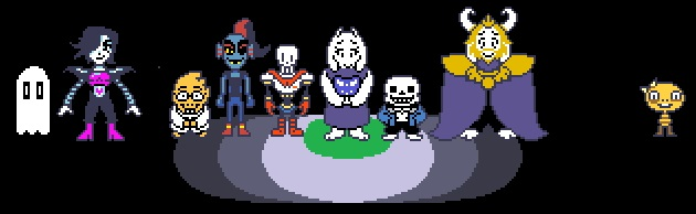 The monsters met in Undertale. From left to right: Napstablook, Mettaton Ex, Dr. Alphys, Undyne, Papyrus, Toriel, Sans, Asgore, and Monster Kid. All of these monsters differ in personalities and values.