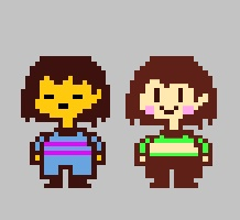 On the left, Frisk. On the right, Chara. Note the similariities in their appearance.