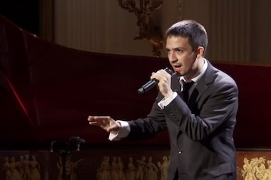 "Lin-Manuel Miranda performs a demo of the song ""Alexander Hamilton"" at the White House in 2009"