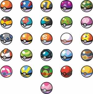 A variety of Pokeball types