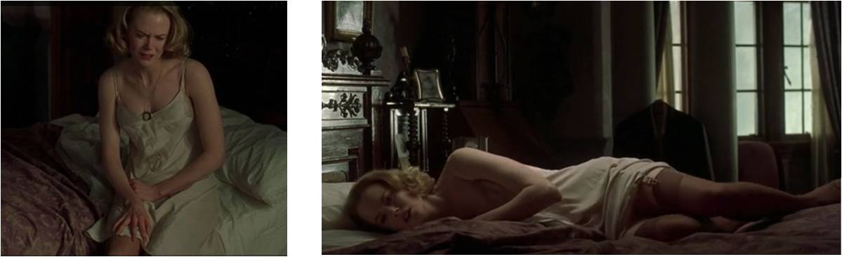 Nicole Kidman mixes sensuality with frailty to capture Grace's sexuality. The camera lingers on her body, with a particular focus on the legs.