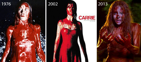 Sissy Spacek, Angela Bettis, and Chloe Grace Moretz in all three Carrie movies.