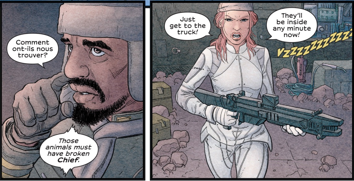 We Stand on Guard was written by Brian K. Vaughan, with art by Steve Skroce and colours by Matt Hollingsworth.
